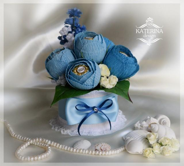 Blue Chocolate Bouquet Ferrero Rocher Inside Of The Flowers Sweet Gift For Any Occasion Mothers Day Birthday Colleague 2444938
