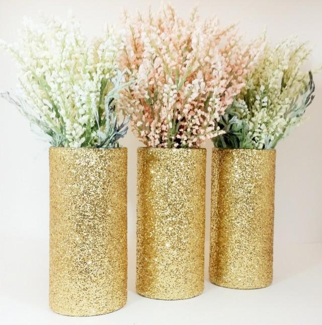 Wedding Centerpiece Gold Wedding Decor Cylinder Vase Black And