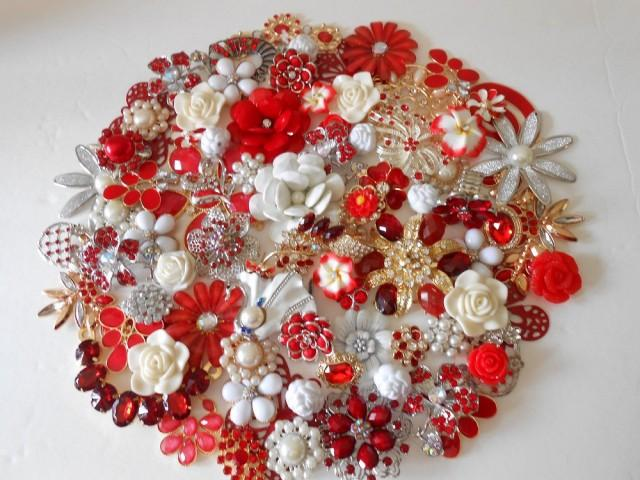 Brooch Bouquet Diy Kit 65 Pc Sweetheart Rose Red White Ivory Gold Silver Wedding Decoration 2445045 Weddbook