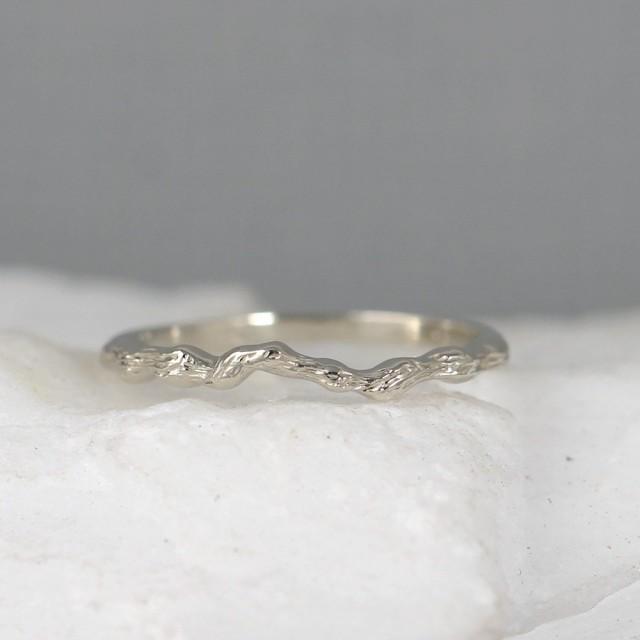 14K White Gold Tree Ring Twig Wedding Band Stacking Rings