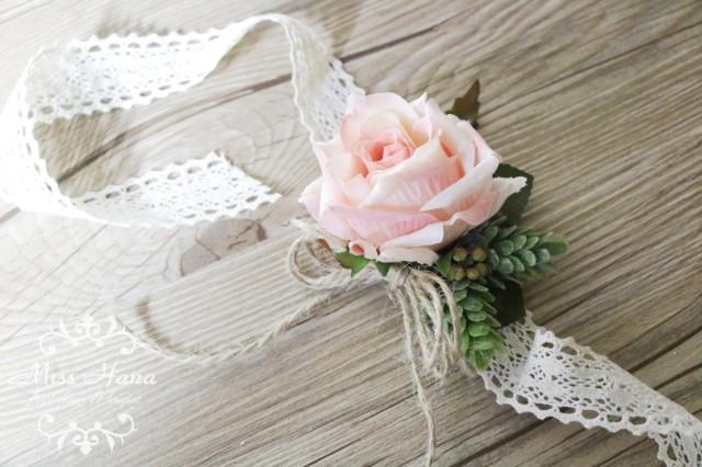 Rustic Vintage Wrist Corsage Wrapped In Lace Blush Pink