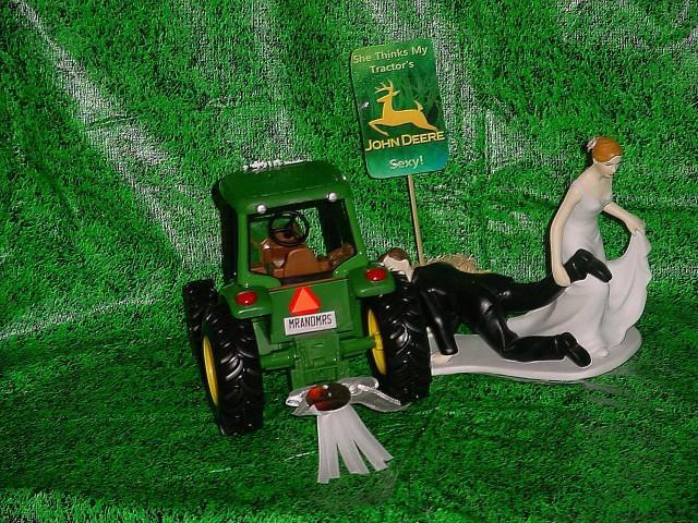 Country Farm Green Yellow Jd Fun Wedding Cake Topper Bride