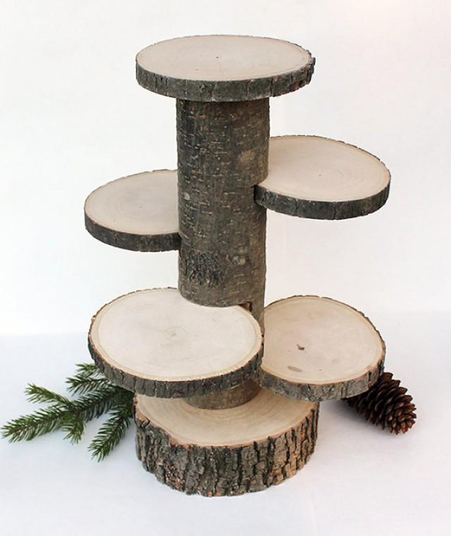 4 tiered rustic cup cake stand wood stand rustic cake