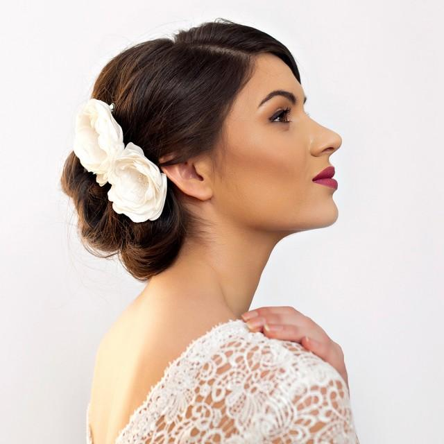 Ivory Flower Hair Clip Wedding: Bridal Hair Flowers Peony Rose