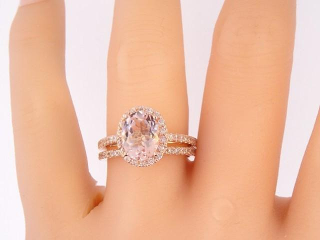 14k Rose Gold Diamond Oval Shape Morganite Halo Wedding Set Engagement Ring Promise Ring Classic Halo Solitaire Yellow Gold White Gold 2446717 Weddbook