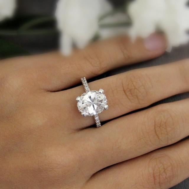 4 20 Ct Engagement Ring Oval Cut Diamond Simulant