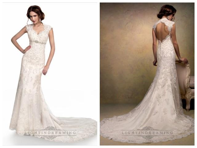 Cap Sleeves Sweetheart Scalloped Neckline Beaded Lace Wedding Dresses With High Keyhole Back 2446861 Weddbook,Destination Wedding Flower Girl Dress
