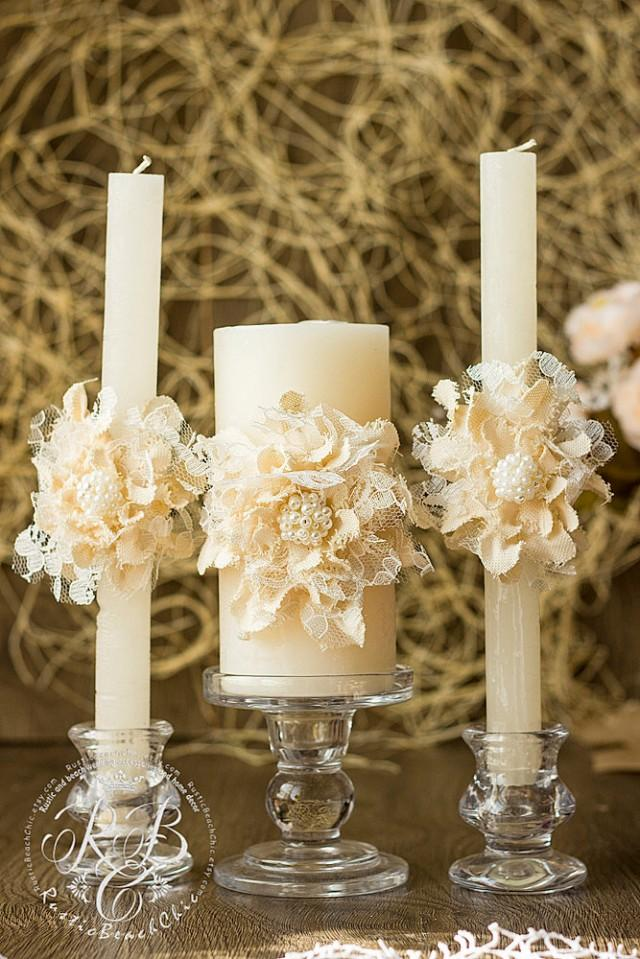 Ivory Wedding Unity Candles Handmade Flower Rustic