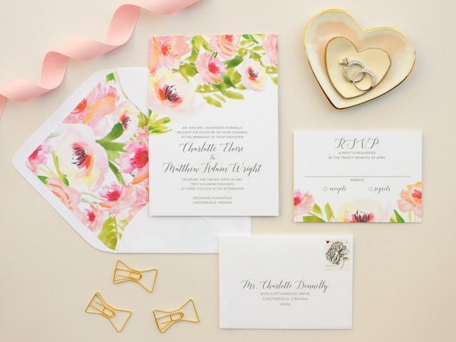 Romantic Wedding Invitation Wording: Watercolor Floral Wedding Invitations, Pink Flowers