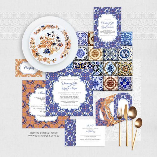 Painted Portugal Printable Wedding Stationery Set Invitation Suite