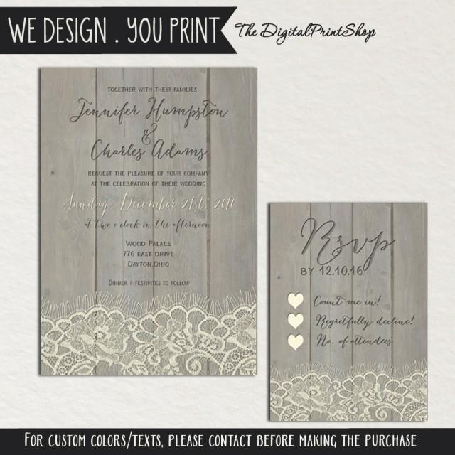 Rustic Wedding Faux Wood Invite Printable Carved Lace