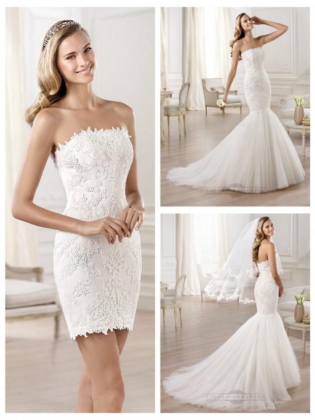 Strapless mermaid wedding dresses featuring applique for Wedding dresses straight cut