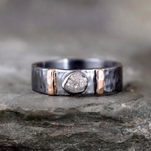 Men S Raw Diamond Ring Black Sterling Silver 14k Rose Gold Accent Bars Rustic Texture Wedding Band Commitment Rings 2448054 Weddbook