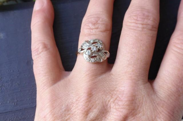 50d52c715a5e2 REDUCED 1/2 Ladies Diamond Ring 14k Two Tone Cocktail Dinner Retro ...
