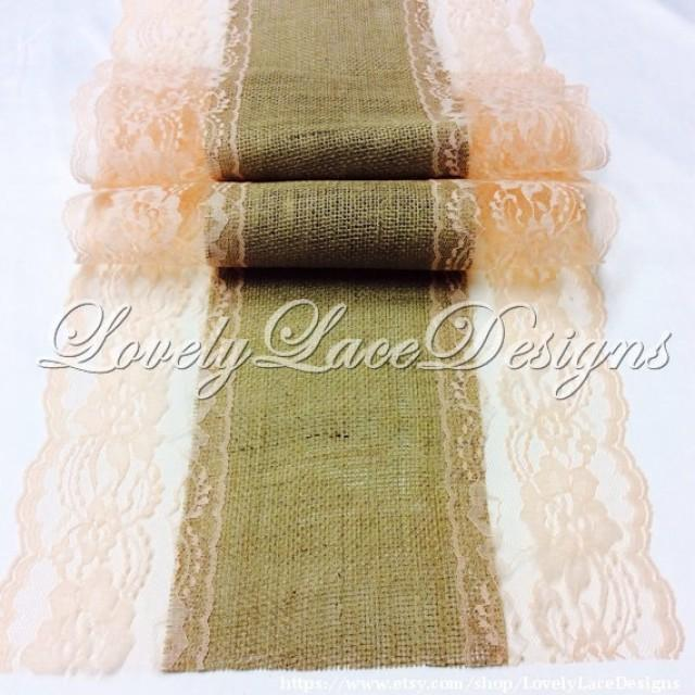 Peach weddings burlap lace table runner with peach lace for 10 foot table runner