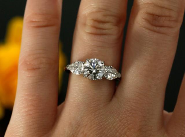 7mm Moissanite Three Stone Engagement Ring In 14k White