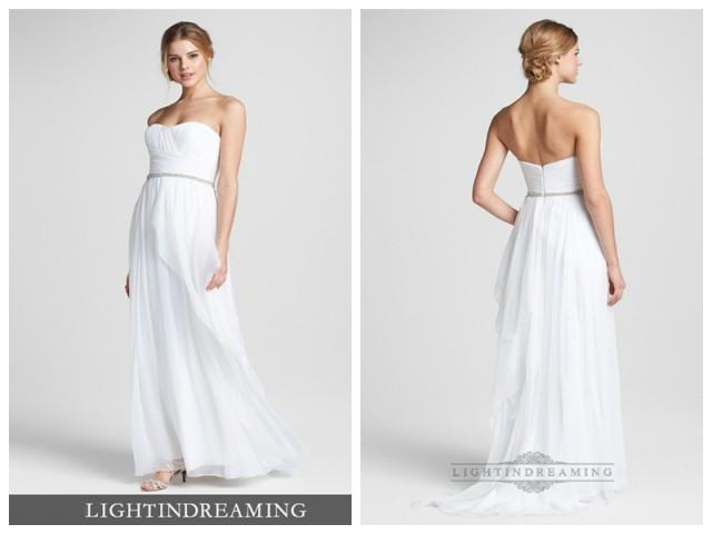 How To Embellish Simple Wedding Dresses: Simple Strapless Embellished Chiffon Column Wedding Dress