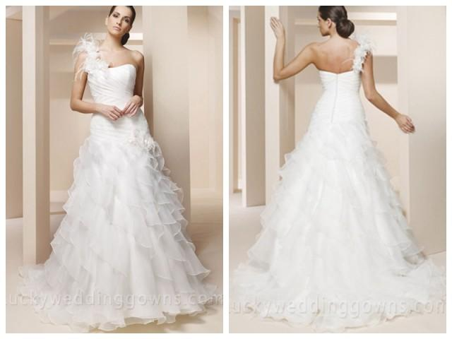 afbba2547d4e One Shoulder Trumpet Wedding Dress With Ruffled Layered Tulle Skirt  #2449484 - Weddbook