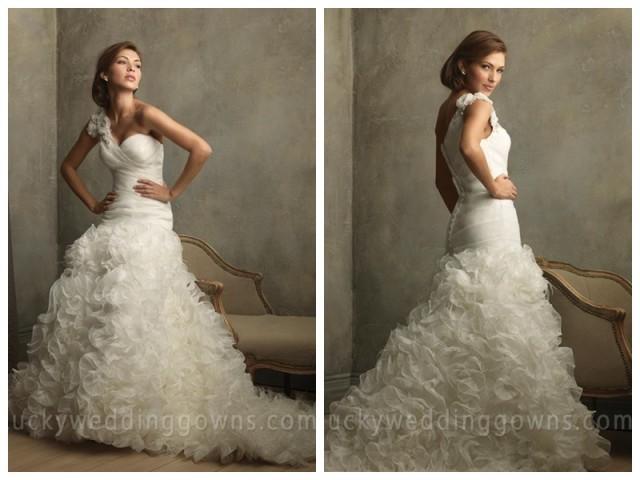 Ruffle Ball Gown Wedding Dress: Organza One Shoulder Ruffles Floral Ball Gown Vintage