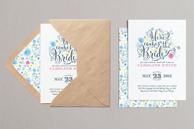 602d4de4e05a Spring Flowers Bridal Invitation