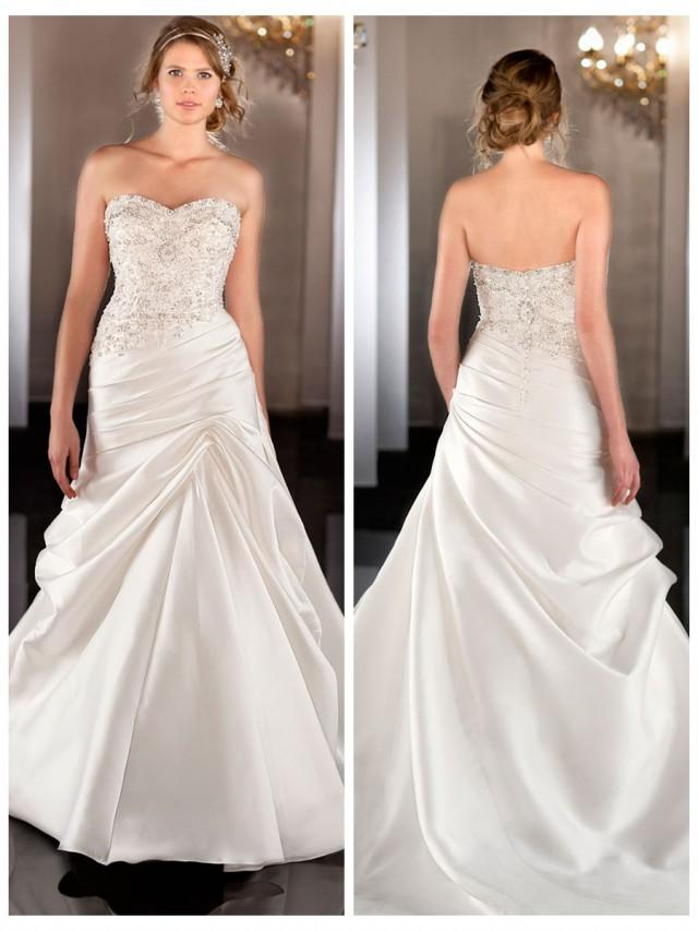 2e7be3510fc Soft Silk Sweetheart A-line Wedding Dress With Beaded Bodice Ruched Waist   2450013 - Weddbook