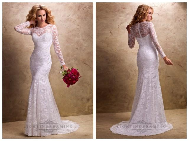Fit and flare long sleeves sheer wedding dresses with for Fit and flare wedding dress with sweetheart neckline