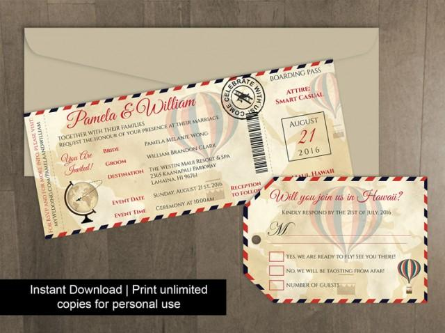 Diy Printable Wedding Boarding Pass Luggage Tag Template #2450328