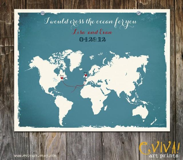 World map custom wedding print destination wedding gift memento world map custom wedding print destination wedding gift memento couple print signature guest books i would cross the ocean for you 2450733 weddbook gumiabroncs Image collections