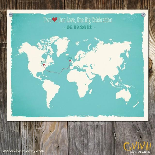 World Map Custom Wedding Print Destination Wedding Gift Memento ...