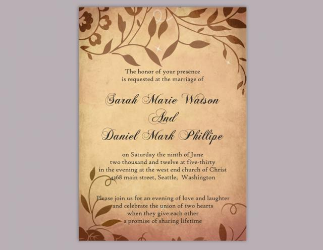 DIY Rustic Wedding Invitation Template Editable Word File Download - Diy rustic wedding invitations templates