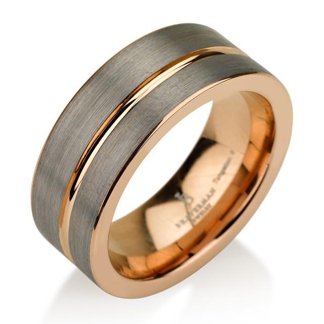 Man S Hand Bands: Black Gunmetal Tungsten Ring Rose Gold Wedding Band Ring