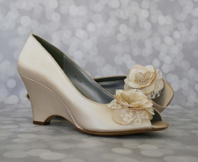 Wedge Heel Shoes For Wedding: Champagne Wedding Shoes, Romantic Wedding, Wedge Wedding