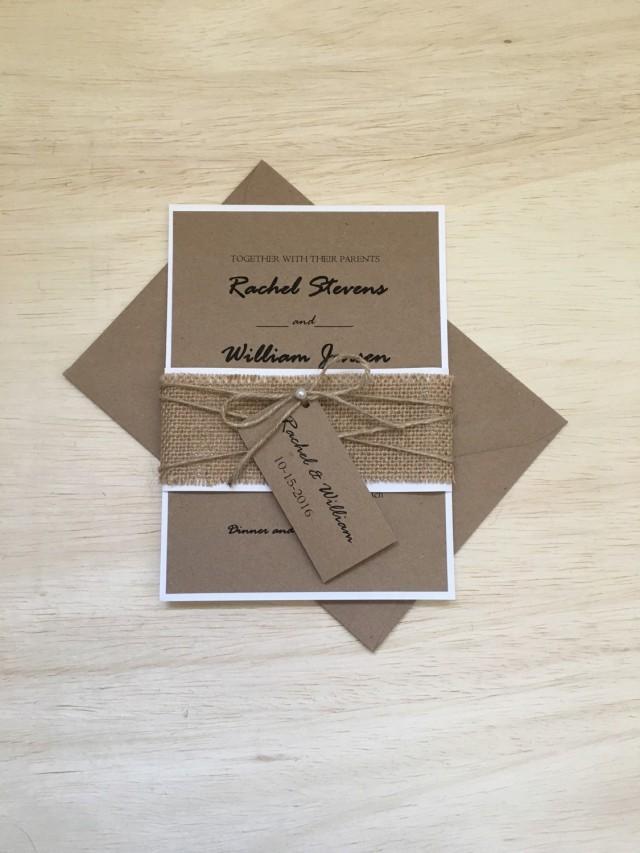 Rustic Wedding Invitation, Burlap Wedding Invitation, Twine Pearl ...