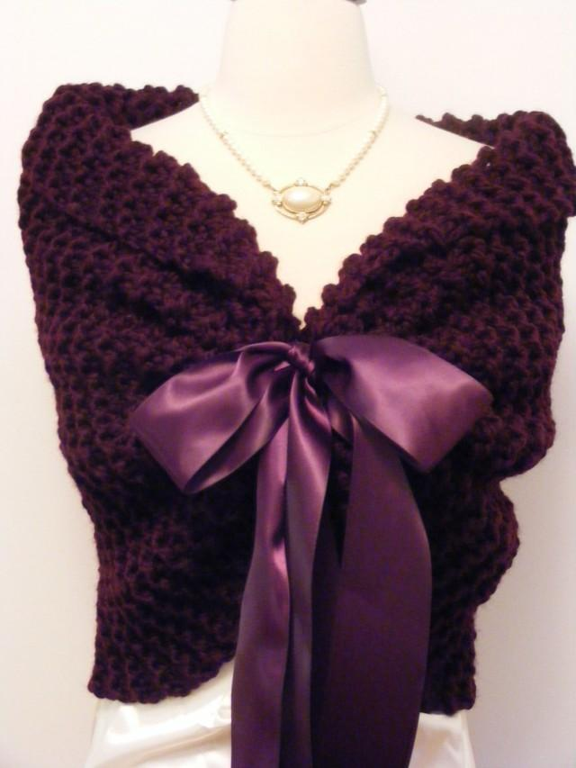 purple shawl  wedding wrap  knit shawl  bridal cape  purple