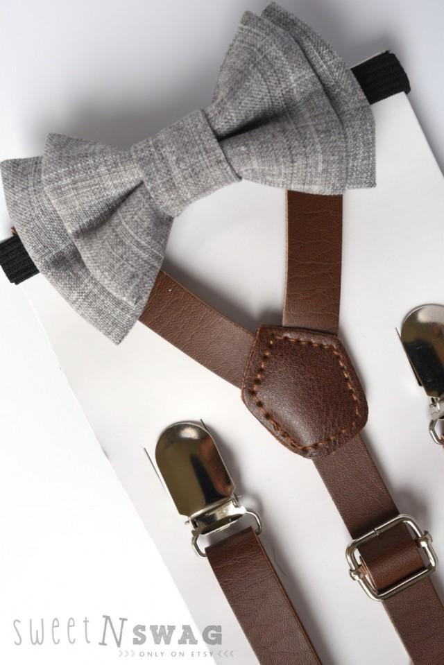Suspender Amp Bowtie Set Newborn Adult Sizes Dark Brown