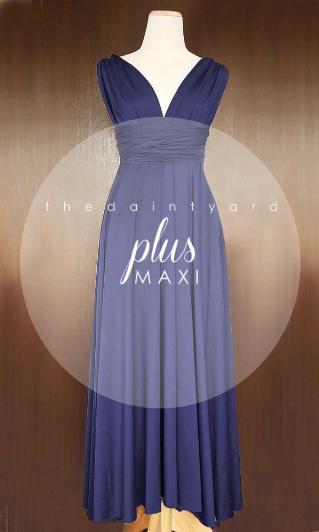 Maxi Plus Size Midnight Blue Bridesmaid Dress Convertible Dress