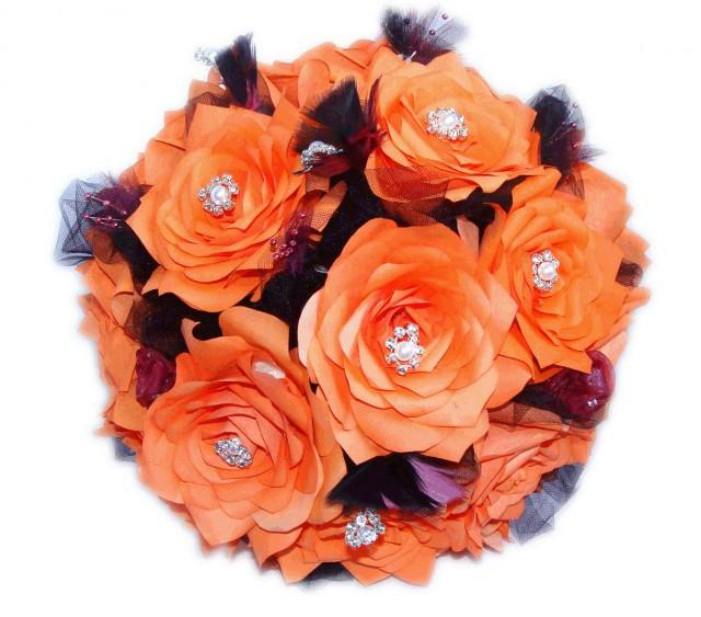 Persimmon And Plum Paper Flower Bouquets, Purple And Orange Feather ...
