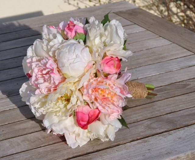 Silk Wedding Bouquet Keepsake Bridal Blush Pink Coral And Ivory Peony Flower 2451771