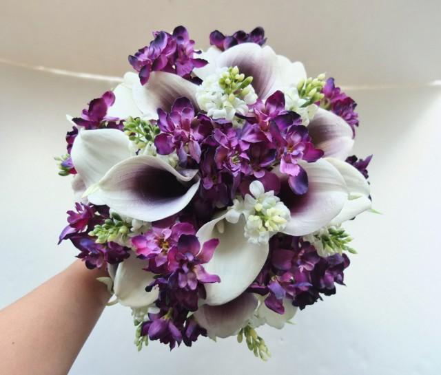 White Amp Plum Purple Calla Lily Bouquet Bridal Bouquet