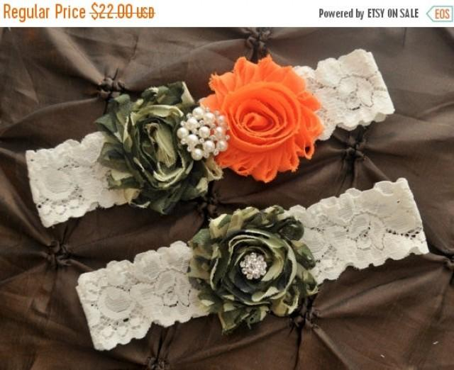 Sale Camo Garter Bridal Garter Set Ivory Lace Garter Keepsake