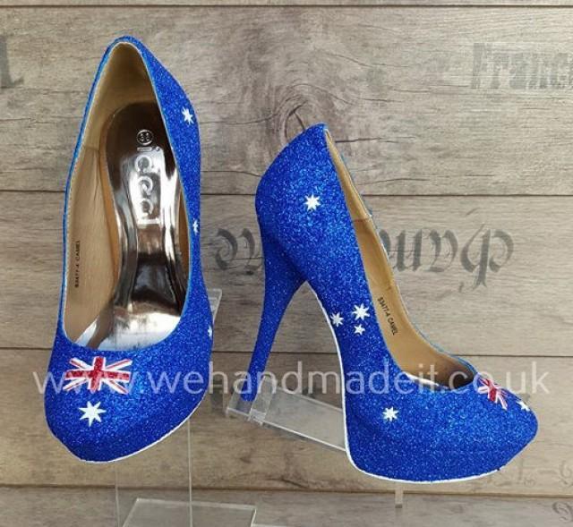 Australia Flag Custom Glitter Shoes Heel Or Wedge Wedding Prom Made To Order 2452906 Weddbook