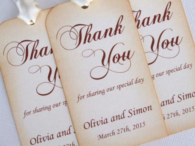 Personalized Wedding Favor Gift Tags Set Of 6 Thank You Party Favors Vintage Style Luxury Choice Ribbon Colours And Fonts 2453327