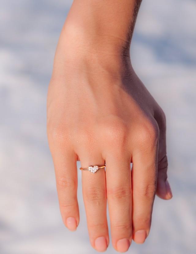 Diamond Heart Ring 14k Rose Gold Ring Promise Ring Pave