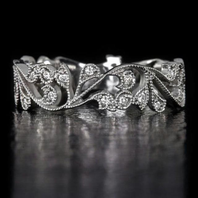 14k White Gold Handcrafted Art Nouveau Inspired Diamond
