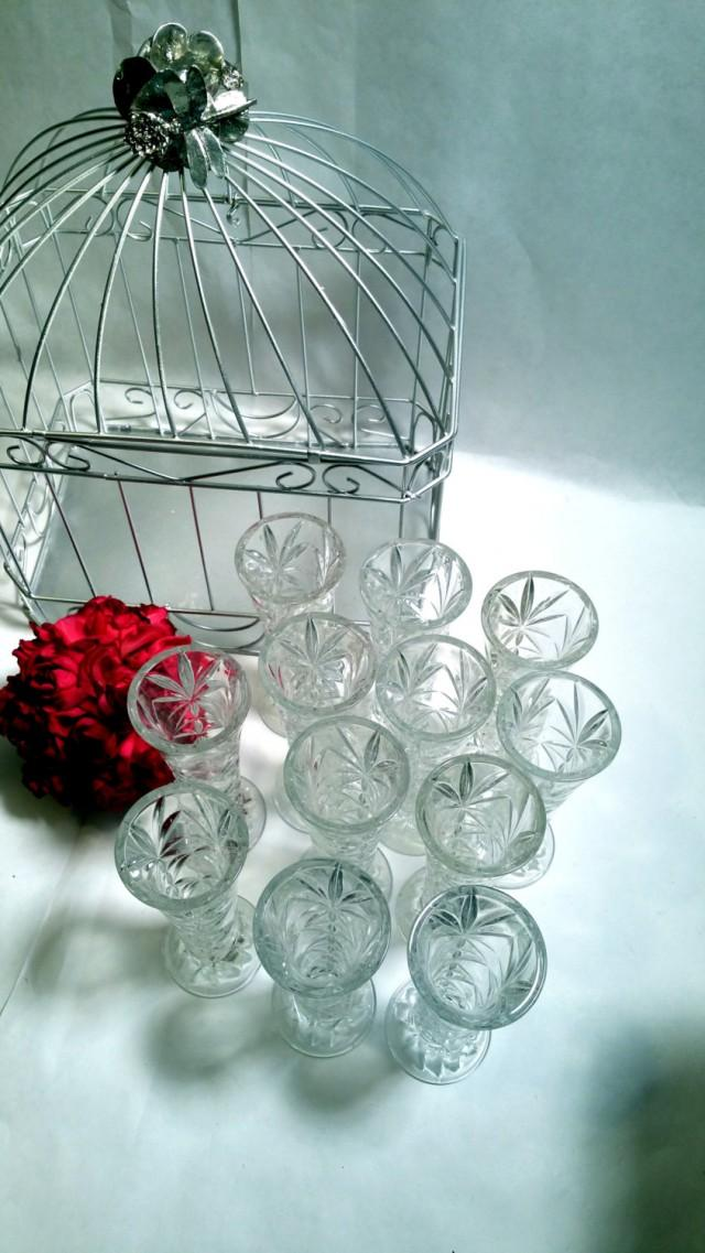 Bud Vases Wedding Decor Dozen Cut Glass Bud Vase Set Clear Glass Tea