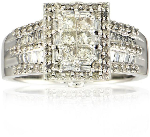 MODERN BRIDE 1 CT. T.W. Diamond 14K White Gold Princess