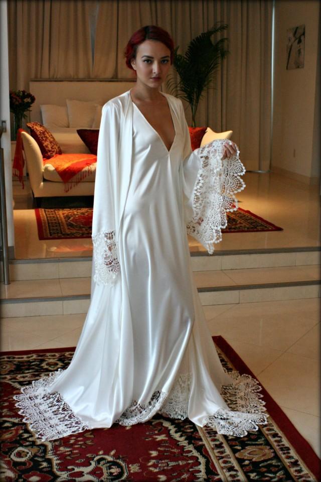 White satin bridal robe victoria's secret