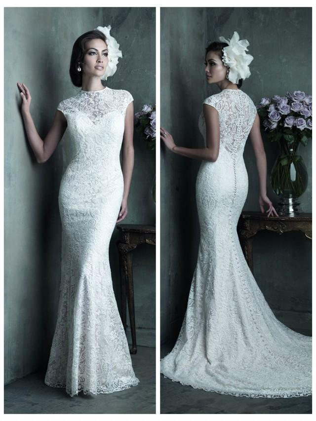 Elegant High Neckline Cap Sleeves Sheath Lace Wedding Dress #2453896 ...
