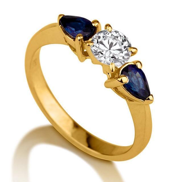 Three Stone Ring Sapphire Ring 14k Gold Ring Diamond Ring Setting