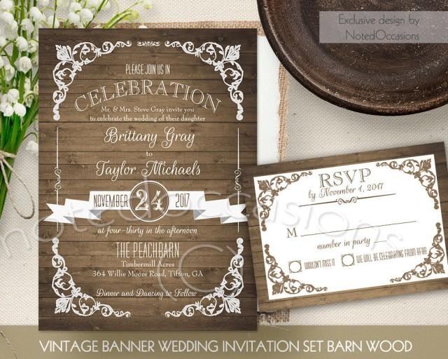 Digital Wedding Invitation Ideas: Rustic Wedding Invitation Printable Set Country Wedding